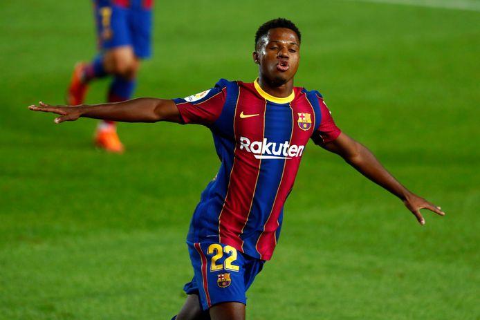 Ansu Fati scoorde meteen twee keer in vier minuten.