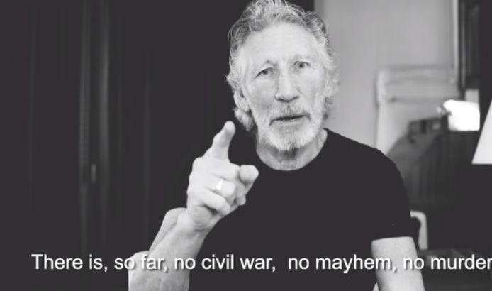 """In de video beweert Waters dat er in Venezuela """"geen (burger)oorlog, geen chaos, geen moorden"""" aan de gang zijn."""
