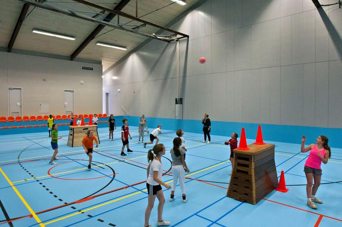 Archiedffoto van een gymles voor kinderen van basisschool De Sonnewijzer in sporthal De Landing.