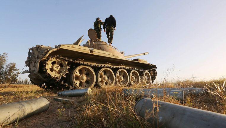 Libische strijders bij Sabratha. Beeld anp