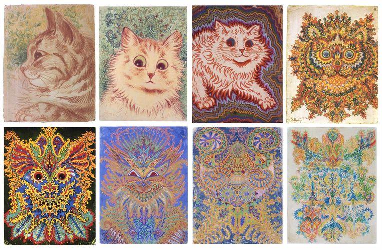De Britse kunstenaar Louis Wain (5 augustus 1860-4 juli 1939) was vooral bekend om zijn tekeningen van katten met grote ogen. Later in zijn leven werd hij ziek; men vermoedde schizofrenie. Specialisten waren het daar, ver na zijn dood, niet altijd over eens. Beeld *