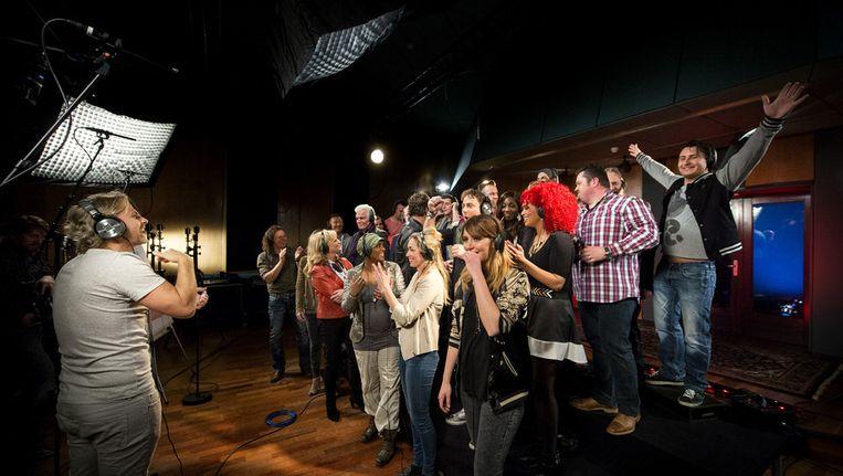 Artiesten zingen het Koningslied Beeld ANP