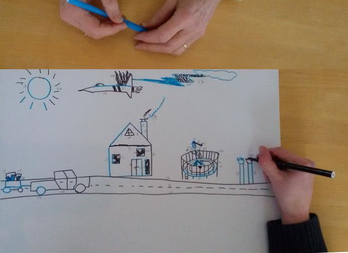 Samen een tekening maken is de basis voor het nieuwe onderzoek naar autisme.