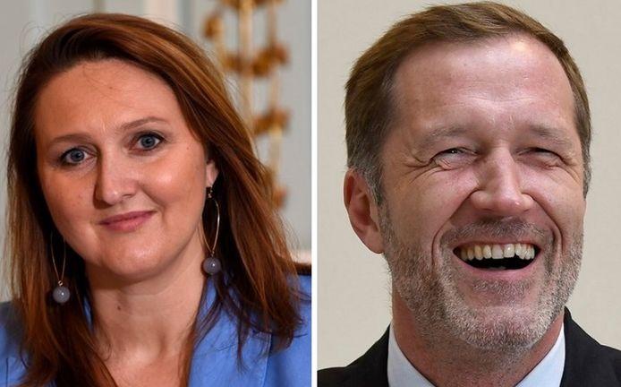 Gwendolyn Rutten, la présidente de l'Open VLD, et Paul Magnette, l'informateur (PS)