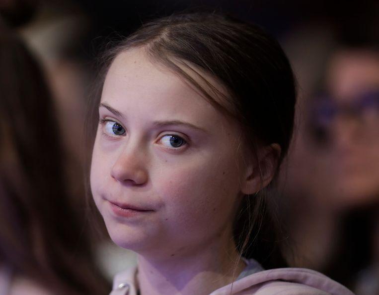 De Zweedse Greta Thunberg op het Wereld Economisch Forum op dinsdag.