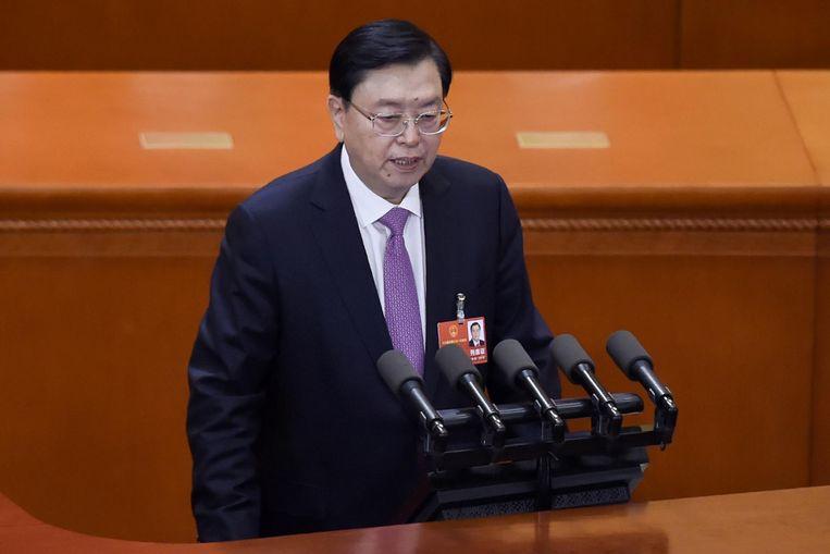 'We zien erop toe dat het partijleiderschap zich manifesteert in alles wat het Volkscongres doet', aldus Zhang Dejiang, voorzitter van het parlement. Beeld afp