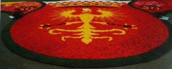 Het bloementapijt dat in 2006 de markt van Kanegem sierde voor het 50-jarige jubileum