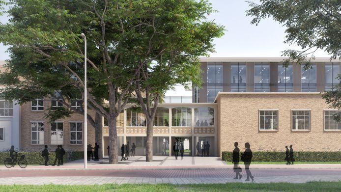 Een impressie van de nieuwe hoofdingang van het gerenoveerde en uitgebreide Van Maerlantlyceum in Eindhoven. Hier heb je straks een doorkijkje naar het park. Rechtsachter de nieuwbouw die achter de gevels van de bestaande aanbouw komt. Ontwerp: Architectenbureau cepezed