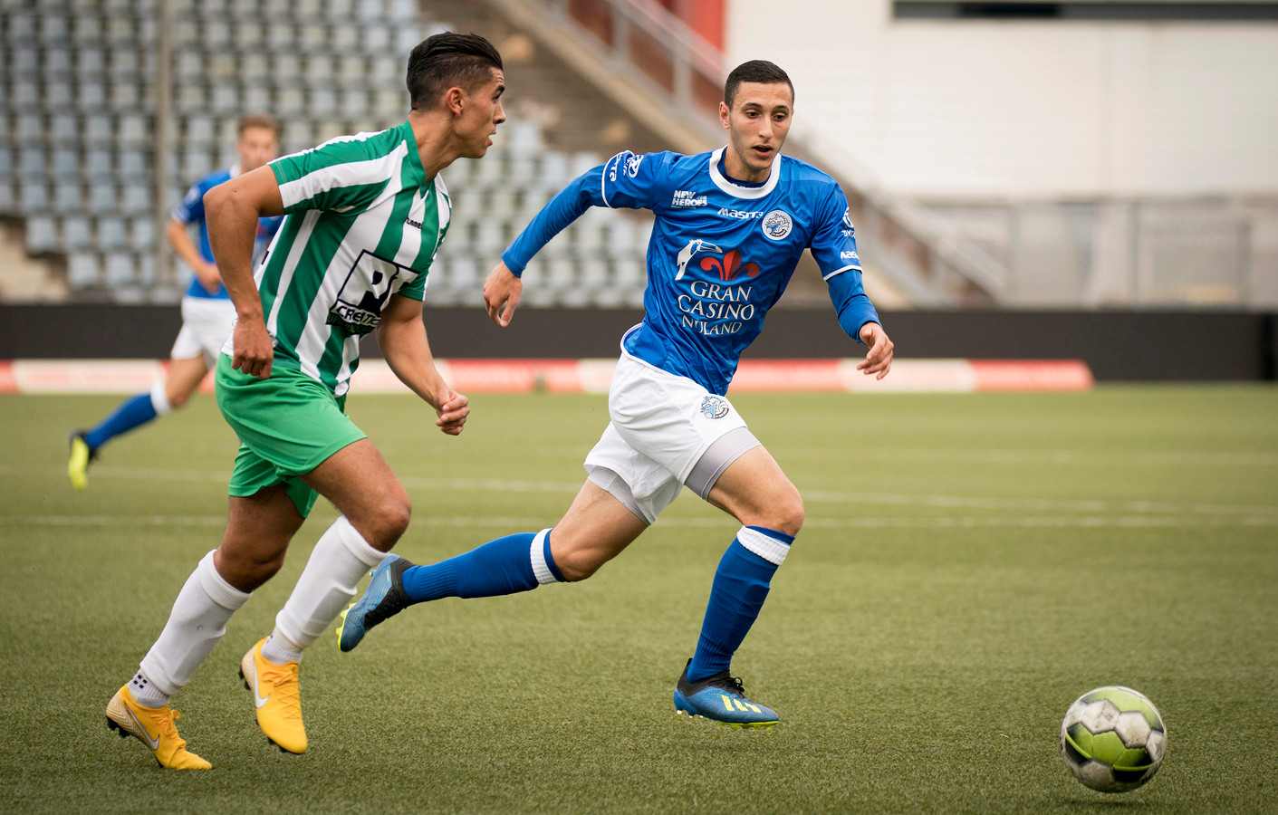 Den Bosch 08-09-2018  Jong FC Den Bosch - Achilles Veen  vlnr Ilias Zaimi en Omar Boulamhayam  Roy Lazet