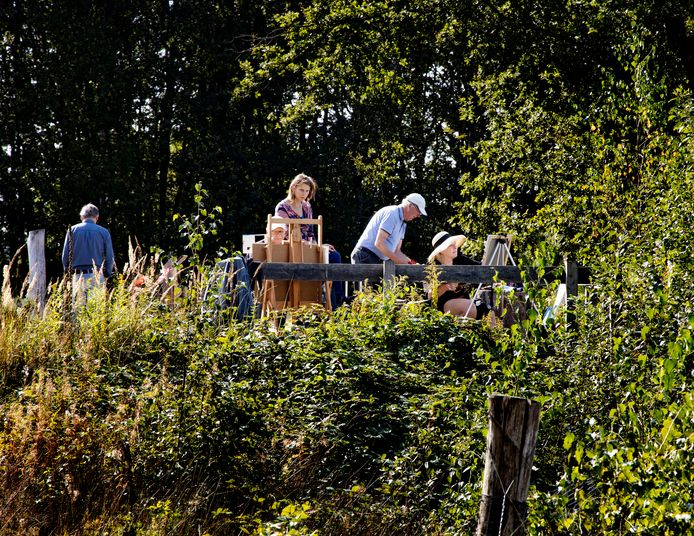 Kunstenaars aan het werk op de Strabrechtse Heide in Heeze.