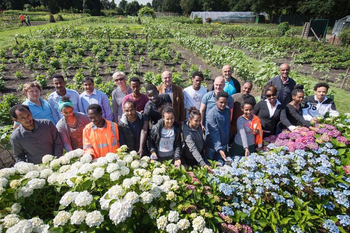 In de groentuin van de SWB werken vluchtelingen bij wijze van proef aan hun werkritme.