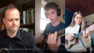 Leerlingen en leraren COLOMAplus maken samen muziek vanuit hun kot