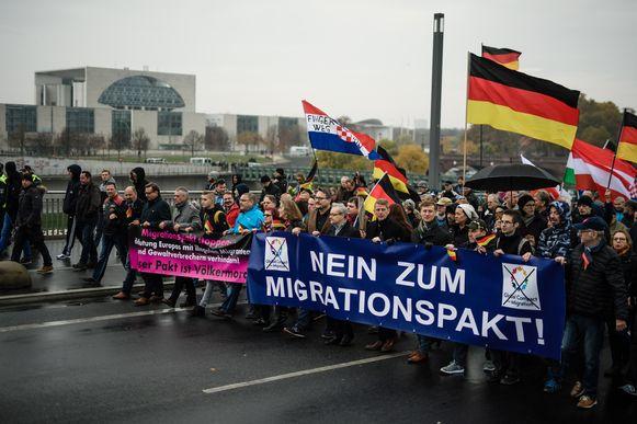 Op 11 november protesteerde de rechts-populistische AfD tegen het migratiepact in Berlijn.