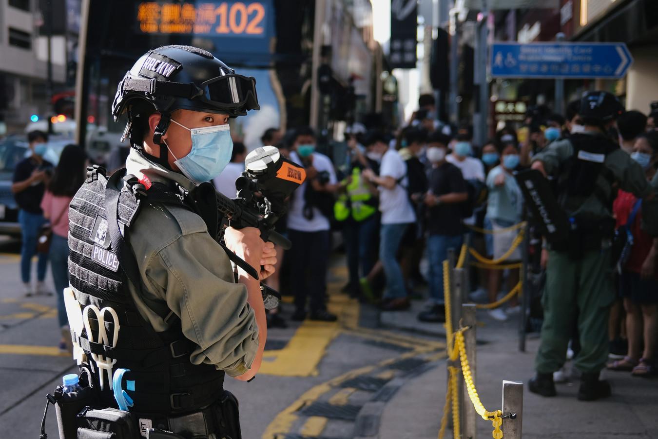 Een demonstratie tegen de invoering van de nieuwe veiligheidswet in Hongkong.