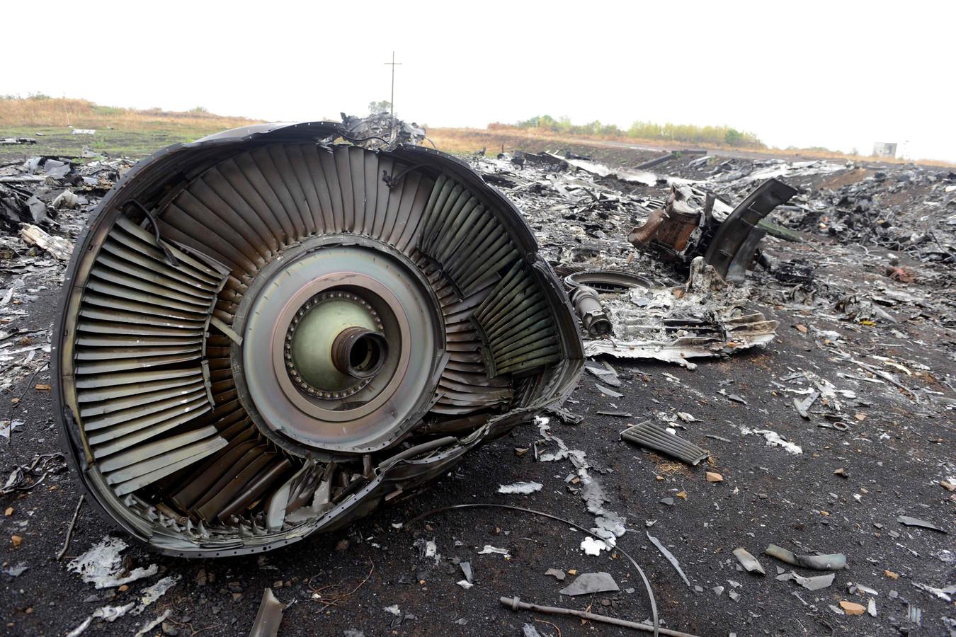 Wrakdelen van het neergehaalde Maleisische toestel MH17