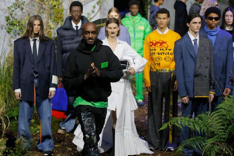 Designer Virgil Abloh na afloop van zijn show van Off-White.