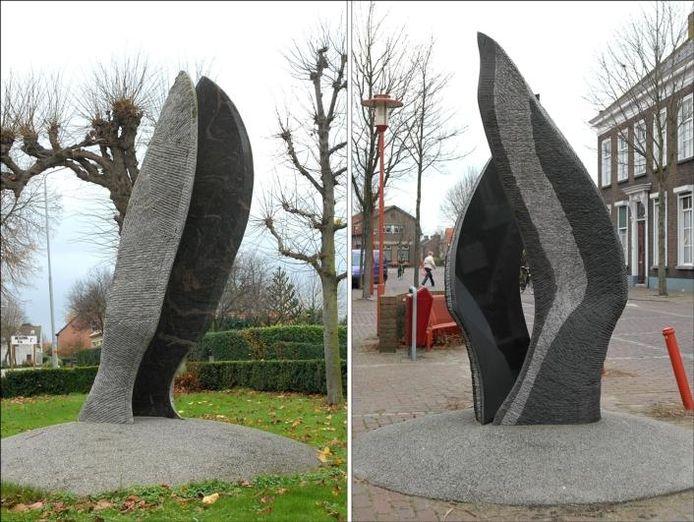 De natuurstenen sculpturen stonden tot december 2006 op de hoek Dorpsstraat/Onderdijk (links) en in de Dorpsstraat. foto's archief BN/DeStem