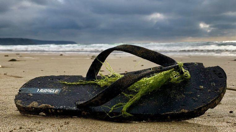 Een teenslipper van Triangle spoelde aan in Cornwall