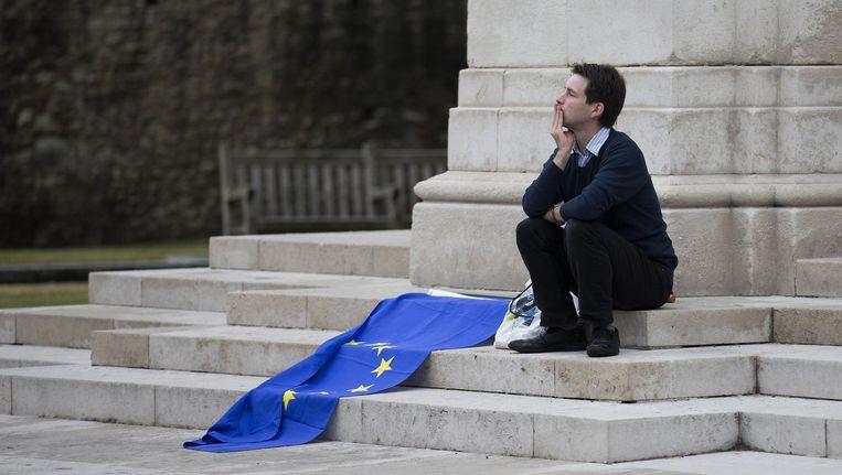 Een man zit met een Europese vlag bij het Britse parlementsgebouw. Beeld null