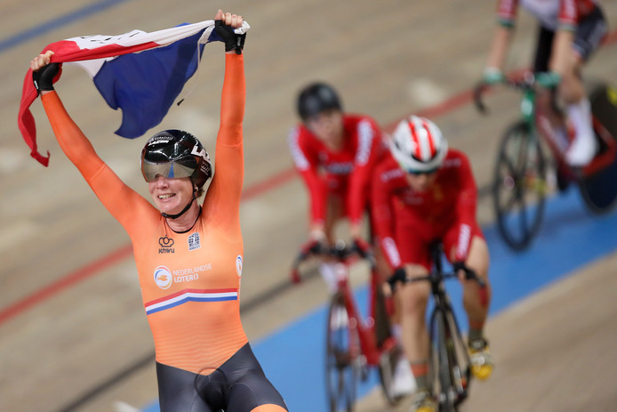 epa07407437 Kirsten Wild of the Netherlands celebrates after winning the gold medal in the women's Omnium final during the UCI Track Cycling World Championships 2019 at the Velodrome BGZ Arena in Pruszkow, Poland, 01 March 2019.  EPA/Leszek Szymanski POLAND OUT
