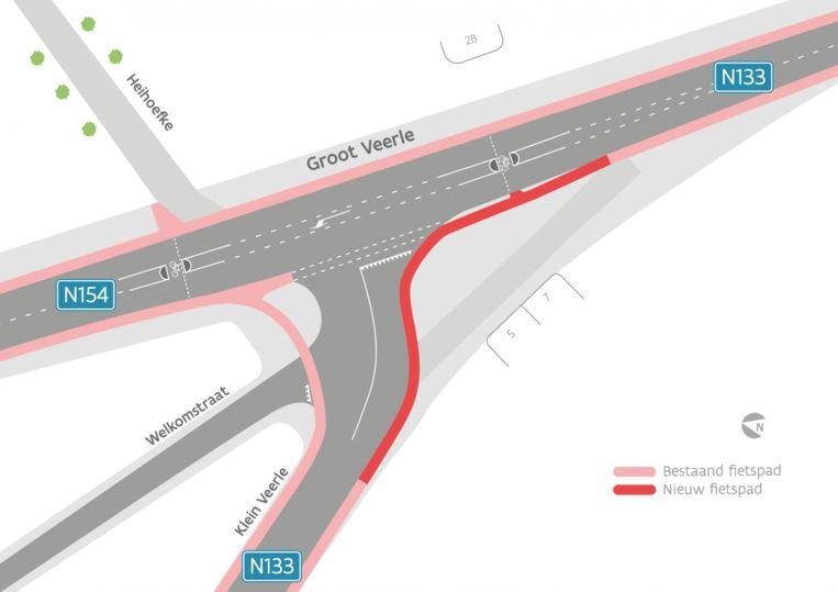 Zo moet het kruispunt er na de werken uitzien op Klein en Groot Veerle.