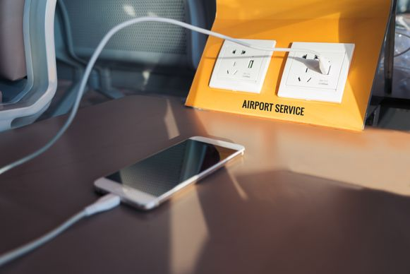 Een USB-lader op de luchthaven kan gevaarlijk zijn.