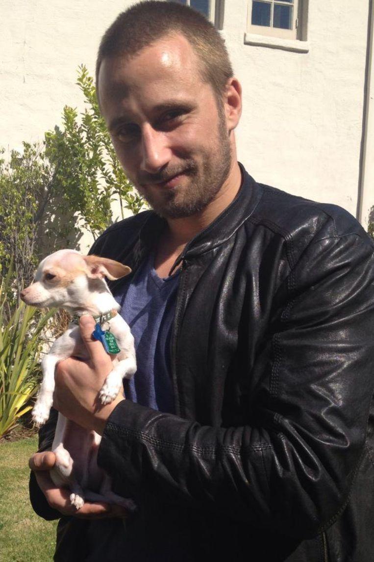 Matthias en onze Hollywoodhond.