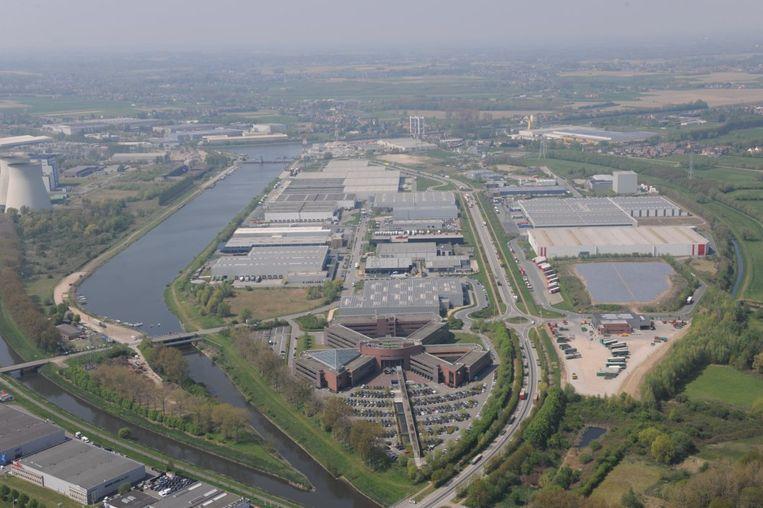 Een luchtfoto van bedrijvenzone Cargovil die zowel op grondgebied Vilvoorde, Grimbergen als Zemst ligt.
