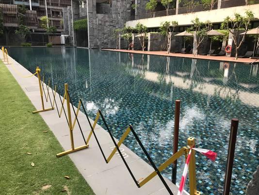 Het zwembad werd direct afgezet.