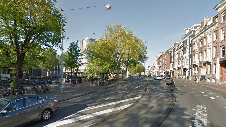 In de buurt van dit punt op de Stadhouderskade wordt het meetpunt geïnstalleerd. Beeld Google Streetview