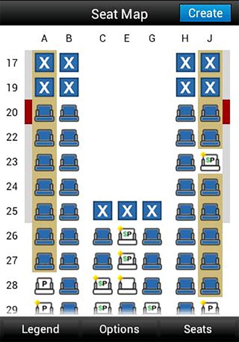 Op de 'seat map' krijg je een mooi overzicht van de nog beschikbare plaatsen op jouw vlucht.
