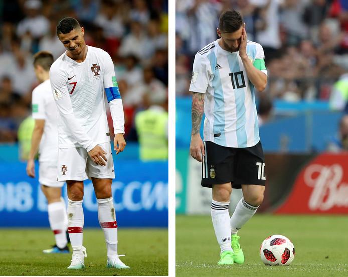 Cristiano Ronaldo en Lionel Messi treuren na de uitschakeling op het WK in Rusland op 30 juni 2018.