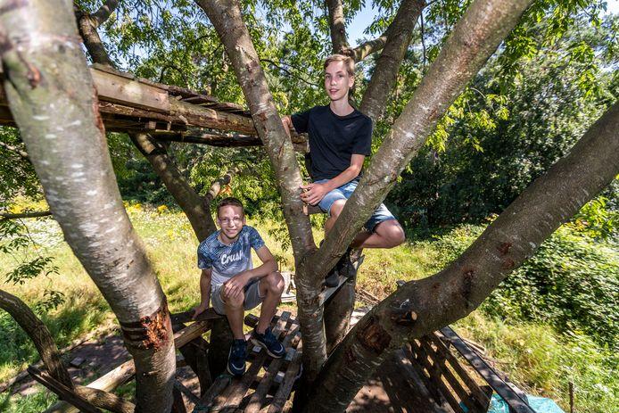 Zedi van Deursen (links) en Jesper Leeuwenburg in hun boomhut in Waalre. Foto Sem Wijnhoven/DCI Media