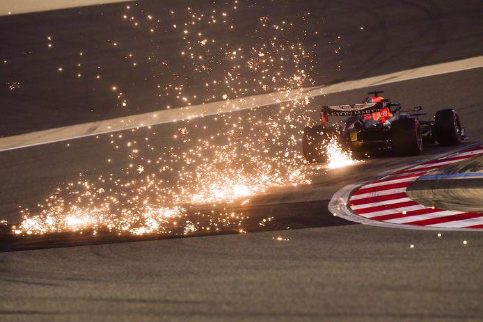 Max Verstappen tijdens de eerste vrije training vandaag in Bahrein.