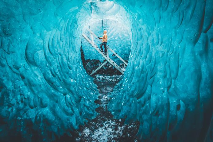 Een van de foto's waar Glasmacher het meest trots op is. De Blue Diamond in IJsland.
