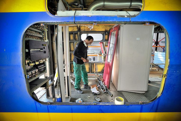 Archieffoto uit 2014: Een trein in de werkplaats van Nedtrain.  Beeld ANP
