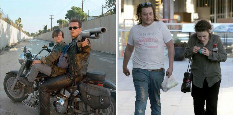 Edward Furlong als jonge kerel in 'Terminator', (links) en met zijn vriendin, 'Dawson's Creek'-actrice Monica Keena.