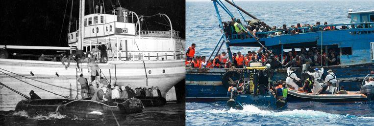 Links: Joden vluchten per boot in 1947 en worden voor de kust van Italië opgepikt door de Britse kustwacht. Rechts: Vluchtelingen op de Middellandse Zee worden opgepikt door een Zweedse reddingsboot. Beeld AP, AFP