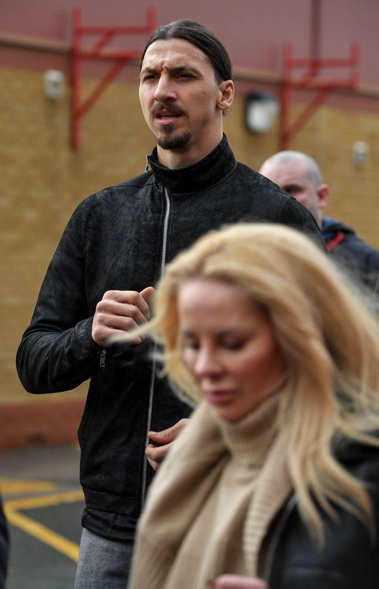 Zlatan met zijn vrouw Helena Seger op Old Trafford.