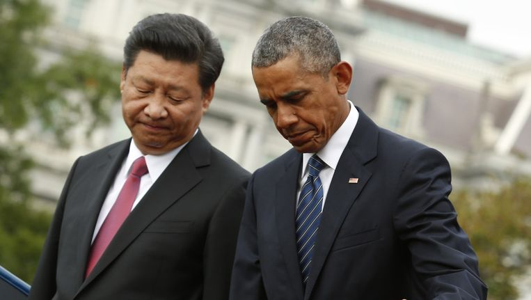 De Amerikaanse president Barack Obama verwelkomt de Chinese president Xi Jinpin in het Witte Huis. Beeld afp