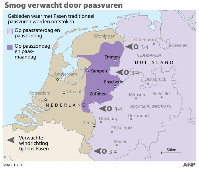 2019-04-18 14:59:38 Smog verwacht door paasvuren. Kaart Nederland en Duitsland met gebieden waar traditioneel paasvuren worden ontstoken. ANP INFOGRAPHICS