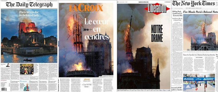 Wereldwijd openen kranten met het tragische nieuws Beeld -