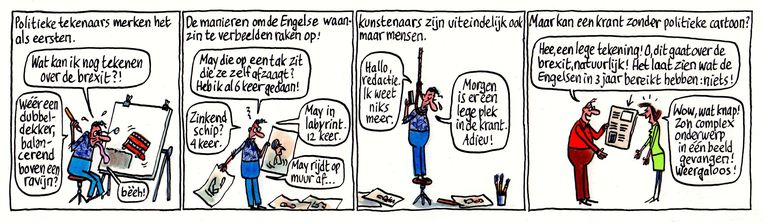 De cartoon van Pieter Geenen waarmee hij de derde prijs won  Beeld Pieter Geenen