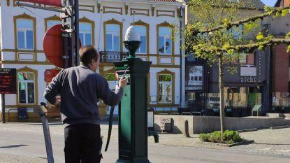 Likje verf voor pompen in stadscentrum
