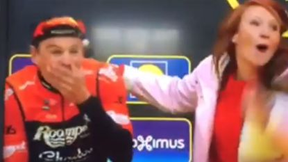 Kan tellen qua motivatie: Linde Merckpoel kust renner voor de start pal op de mond