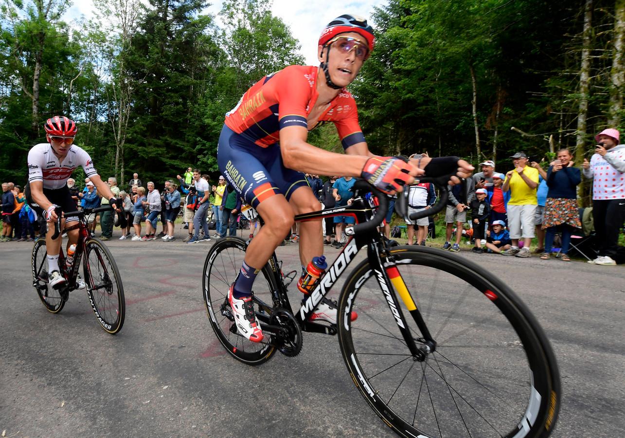 De twee sterkste renners van de dag: Giulio Ciccone (links) en Dylan Teuns. Geert Slopsema uit Almelo heeft ze allebei.