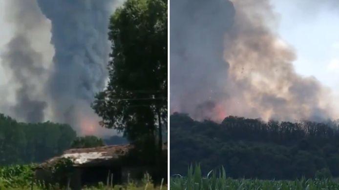Er circuleren beelden op sociale media van de vuurwerkexplosies.