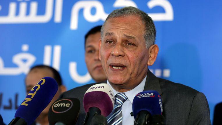 Mohamed Anwar al-Sadat zegt tijdens de persconferentie dat hij niet meedoet aan de presidentsverkiezingen omdat er volgens hem geen sprake is van een eerlijke strijd. Beeld epa