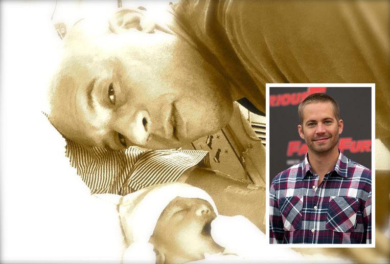 Vin Diesel met baby Pauline en Paul Walker (kader).
