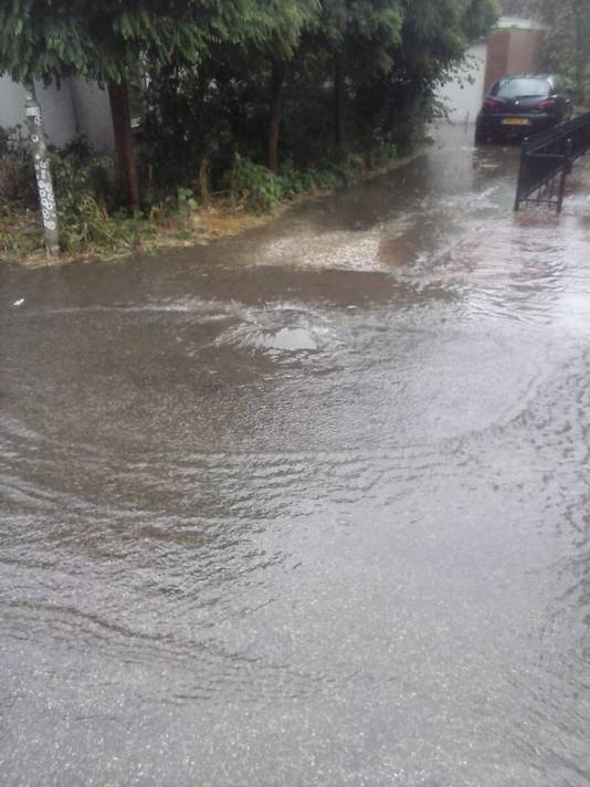 Vorige week donderdag: het riool kan het niet meer aan en het water  stroomt bij Kamps de tuin in.  Eigen foto